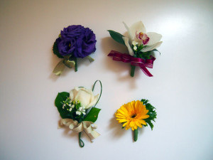 From top left clockwise - Eustoma, Cymbidium, Gerbera, Rose