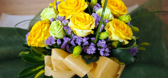 Yellow Roses, Pastel Green Eustoma and Purple Limonium