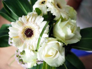 Bear grass is sued to separate the gerberas and roses