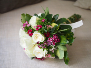 White Rose Bouquet with White Bow