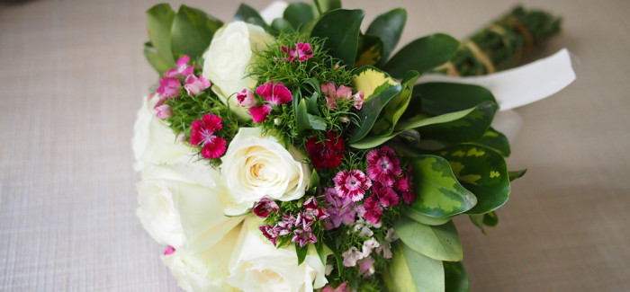 Hand Tied Bouquet – White Roses and Pink Dianthus