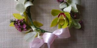 Flower girl headpiece – Cymbidium, Orchid & Wax Flowers