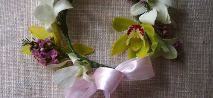 Flower girl headpiece – Cymbidium, Orchid & Wax Flowers