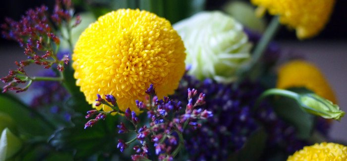 Crossing Curves – Ping Pong Chrysanthemum, Eustoma and Limonium